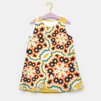 Thumbnail image of Stylish Floral Patterned Olive Green Orange Mix Girl's Summer Dress, Live Heroes