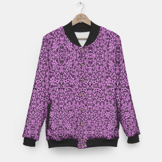 Thumbnail image of Purple Black Vintage Floral Damask Print Baseball Jacket, Live Heroes