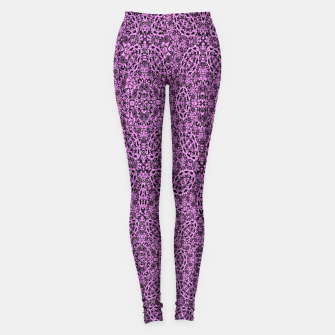 Thumbnail image of Purple Black Vintage Floral Damask Print Leggings, Live Heroes