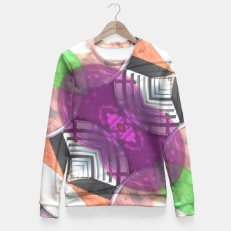 Thumbnail image of Stylish Textured Effect Pattern Purple Orang Green Mix Fitted Waist Sweater, Live Heroes
