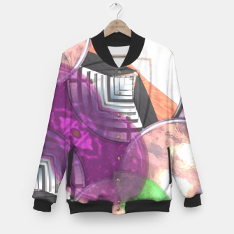 Thumbnail image of Stylish Textured Effect Pattern Purple Orang Green Mix Baseball Jacket, Live Heroes