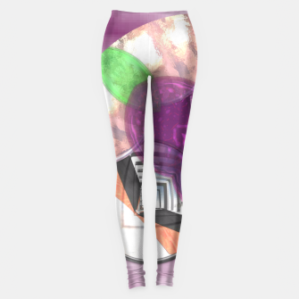 Thumbnail image of Stylish Textured Effect Pattern Purple Orang Green Mix Leggings, Live Heroes