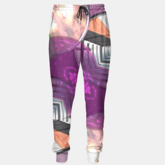 Thumbnail image of Stylish Textured Effect Pattern Purple Orang Green Mix Sweatpants, Live Heroes