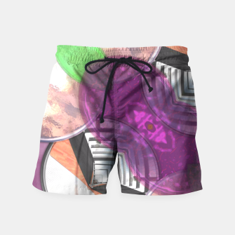 Thumbnail image of Stylish Textured Effect Pattern Purple Orang Green Mix Swim Shorts, Live Heroes