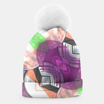 Thumbnail image of Stylish Textured Effect Pattern Purple Orang Green Mix Beanie, Live Heroes