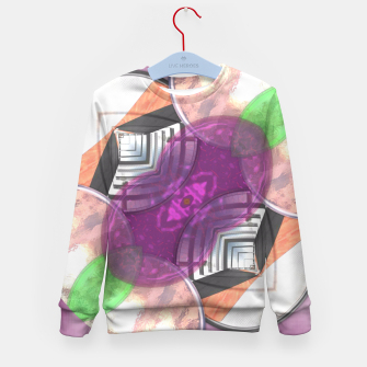 Thumbnail image of Stylish Textured Effect Pattern Purple Orang Green Mix Kid's Sweater, Live Heroes