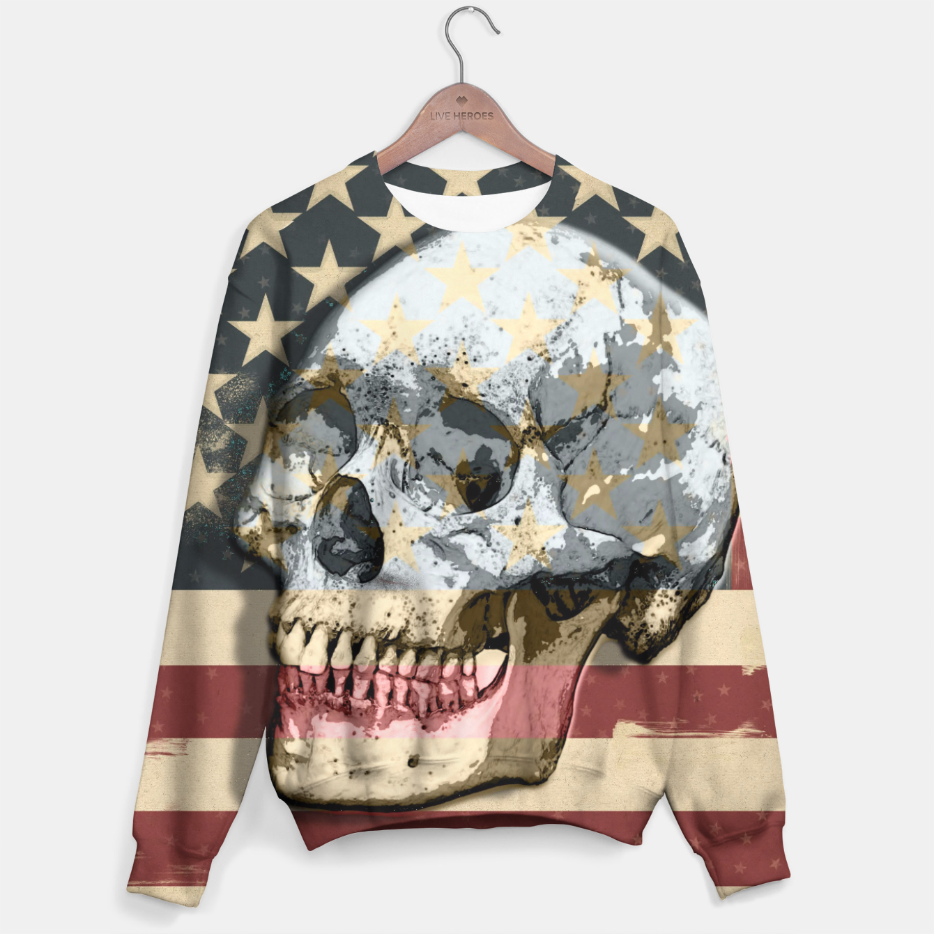 Image of American Stars Stripes Flag Skull  Sweater - Live Heroes
