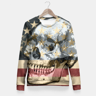 Thumbnail image of American Stars Stripes Flag Skull  Fitted Waist Sweater, Live Heroes