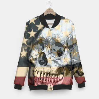 Thumbnail image of American Stars Stripes Flag Skull  Baseball Jacket, Live Heroes