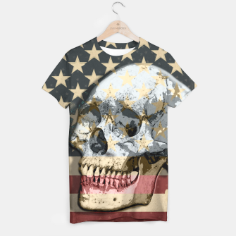 Thumbnail image of American Stars Stripes Flag Skull  T-shirt, Live Heroes