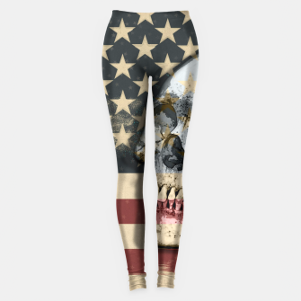 Thumbnail image of American Stars Stripes Flag Skull  Leggings, Live Heroes