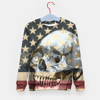 Thumbnail image of American Stars Stripes Flag Skull  Kid's Sweater, Live Heroes