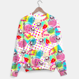 Thumbnail image of Fun Funky Bubble Gum Comic Pop Art  Sweater, Live Heroes