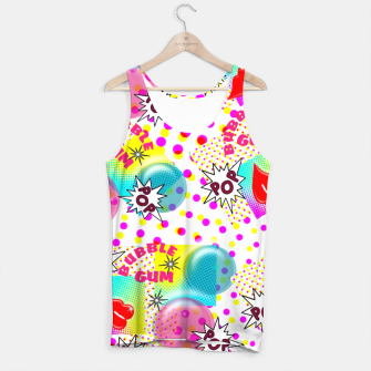 Thumbnail image of Fun Funky Bubble Gum Comic Pop Art  Tank Top, Live Heroes