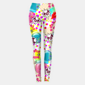 Thumbnail image of Fun Funky Bubble Gum Comic Pop Art  Leggings, Live Heroes