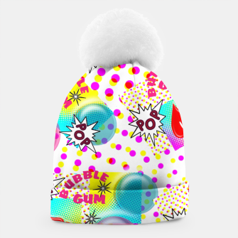 Thumbnail image of Fun Funky Bubble Gum Comic Pop Art  Beanie, Live Heroes
