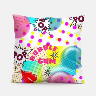 Thumbnail image of Fun Funky Bubble Gum Comic Pop Art  Pillow, Live Heroes