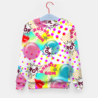 Thumbnail image of Fun Funky Bubble Gum Comic Pop Art  Kid's Sweater, Live Heroes
