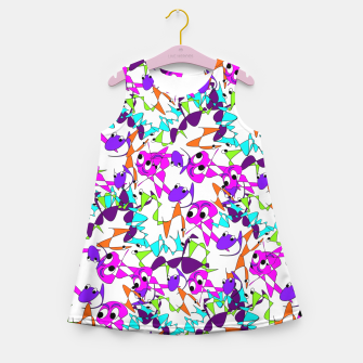 Thumbnail image of Fun Colorful Doodle Scribble Abstract Girl's Summer Dress, Live Heroes