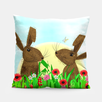 Thumbnail image of Spring Poppy Fields  March Hares Pillow, Live Heroes