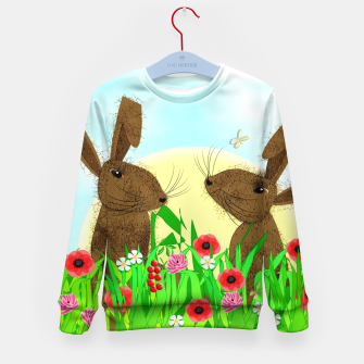 Thumbnail image of Spring Poppy Fields  March Hares Kid's Sweater, Live Heroes