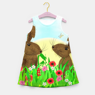 Thumbnail image of Spring Poppy Fields  March Hares Girl's Summer Dress, Live Heroes
