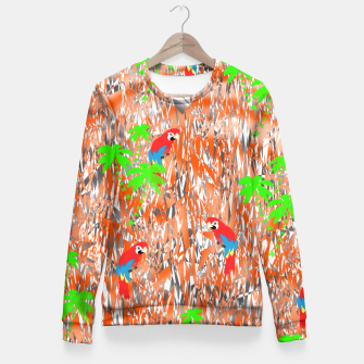 Thumbnail image of Tropical Parrot Jungle Print  Fitted Waist Sweater, Live Heroes