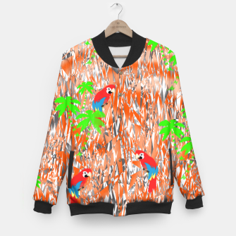 Thumbnail image of Tropical Parrot Jungle Print  Baseball Jacket, Live Heroes