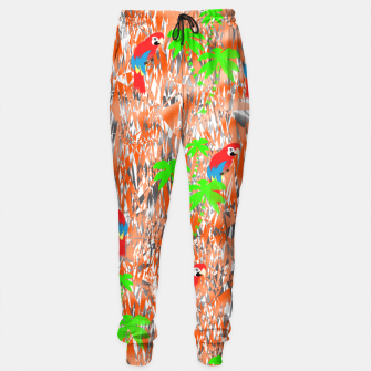 Thumbnail image of Tropical Parrot Jungle Print  Sweatpants, Live Heroes