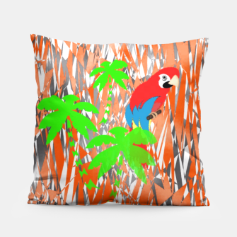 Thumbnail image of Tropical Parrot Jungle Print  Pillow, Live Heroes