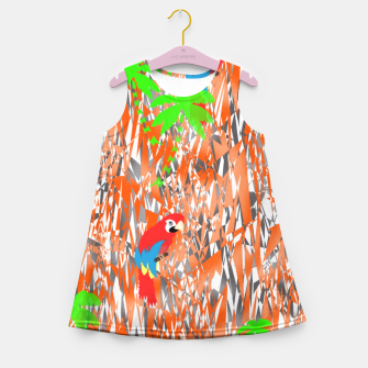 Thumbnail image of Tropical Parrot Jungle Print  Girl's Summer Dress, Live Heroes