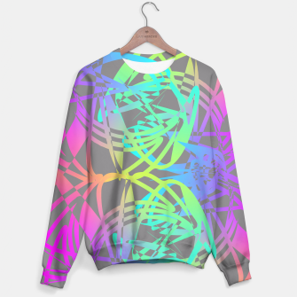 Thumbnail image of Funky Abstract Rainbow Rave Glow Sticks  Sweater, Live Heroes