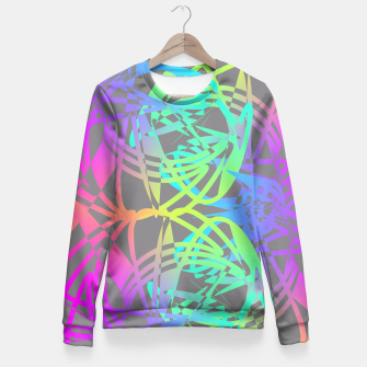 Thumbnail image of Funky Abstract Rainbow Rave Glow Sticks  Fitted Waist Sweater, Live Heroes