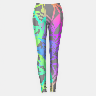 Thumbnail image of Funky Abstract Rainbow Rave Glow Sticks  Leggings, Live Heroes