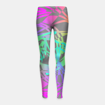 Thumbnail image of Funky Abstract Rainbow Rave Glow Sticks  Girl's Leggings, Live Heroes