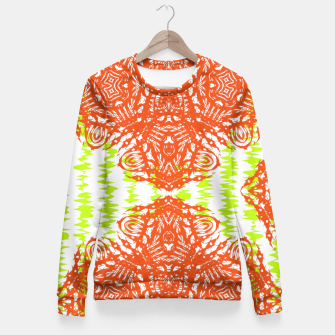 Thumbnail image of Orange Lime Green Floral Vintage Damask Fitted Waist Sweater, Live Heroes