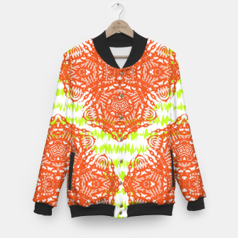 Thumbnail image of Orange Lime Green Floral Vintage Damask Baseball Jacket, Live Heroes