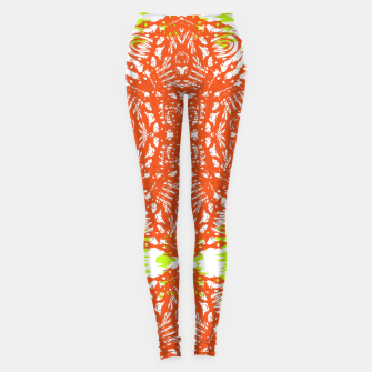 Thumbnail image of Orange Lime Green Floral Vintage Damask Leggings, Live Heroes