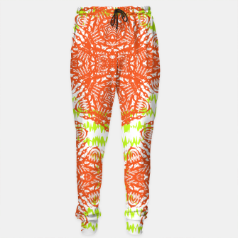 Thumbnail image of Orange Lime Green Floral Vintage Damask Sweatpants, Live Heroes