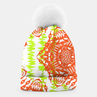 Thumbnail image of Orange Lime Green Floral Vintage Damask Beanie, Live Heroes