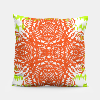 Thumbnail image of Orange Lime Green Floral Vintage Damask Pillow, Live Heroes