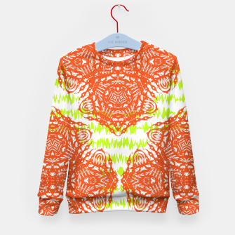 Thumbnail image of Orange Lime Green Floral Vintage Damask Kid's Sweater, Live Heroes