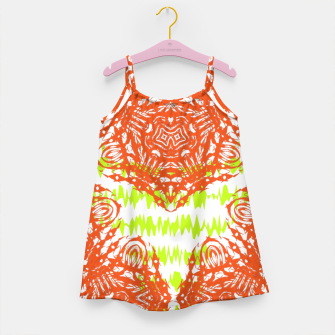 Thumbnail image of Orange Lime Green Floral Vintage Damask Girl's Dress, Live Heroes