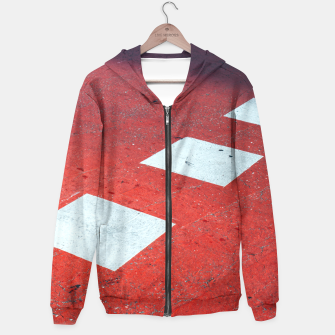 Thumbnail image of Red and White Abstract Hoodie, Live Heroes