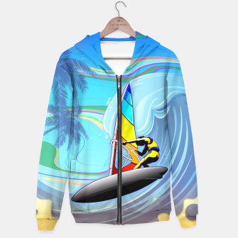 Thumbnail image of WindSurfer on Ocean Waves  Hoodie, Live Heroes