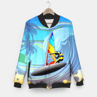 Thumbnail image of WindSurfer on Ocean Waves  Baseball Jacket, Live Heroes