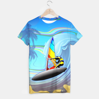 Thumbnail image of WindSurfer on Ocean Waves  T-shirt, Live Heroes