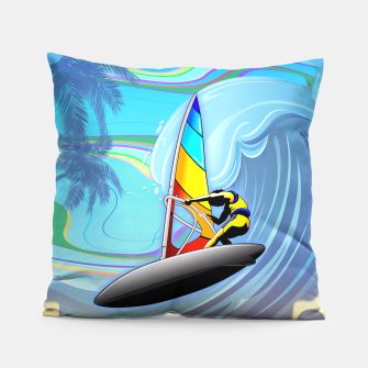 Thumbnail image of WindSurfer on Ocean Waves  Pillow, Live Heroes