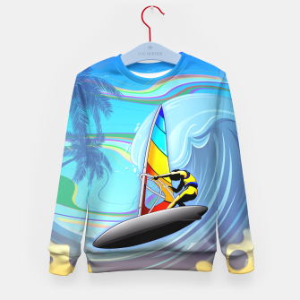 Thumbnail image of WindSurfer on Ocean Waves  Kid's Sweater, Live Heroes
