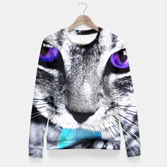 Purple eyes cat Fitted Waist Sweater obraz miniatury